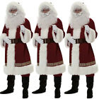 DELUXE 10 PIECE SANTA CLAUS SUIT FATHER CHRISTMAS COSTUME XMAS FANCY DRESS US