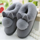 Women Rabbit Bunny Plush Fur Slippers Winter Warm Home Indoor Slip on Flat Shoes