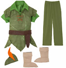 Disney Authentic Peter Pan Boys Costume Outfit Set Kids Size 3 4 5/6 7/8 9/10