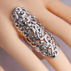 Gold Silver Knuckle Crystal Ring Long Statement Rhinestone Finger Ring Jewelry
