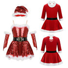 Girls Christmas Santa Dance Costume Kids Roller Ice Skating Leotard Fancy Dress