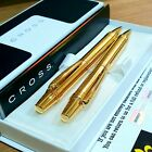 24k Gold Plated Shiny Cross Nile Twist Ball Point Writing Pen & Pencil Set Boxed