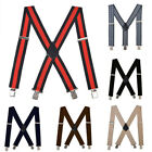Wide Mens Suspender with Heavy 4 Clips Long Adjustable Clip-on Men's Braces GIFT