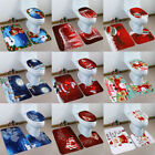 3pcs Santa Claus Toilet Seat Cover Rug Christmas Bathroom Set Home Decorations