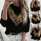 Womens Sweater Leopard-print Sequins Stitching Drilling Net Casual Pullover GIFT