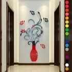3d Flower Vase Diy Mirror Wall Home Art Sticker Living Room Decal Mural Decors