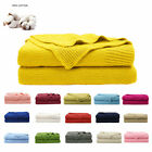 Soft Warm 100% Cotton Knitted Throw Blanket Home Decor Sofa Couch Bed 16 Colors image