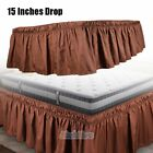 Bed Dust Ruffle Skirt Twin Full Queen King Size Elastic Wrap Around Dark Brown image