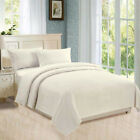 Flat, Fitted, Button Closure Duvet Cover Cotton, Pillowcases 800 TC Ivory Stripe image