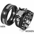 Couple Rings Black Plated Wire rope Titanium Mens Wedding Band Womens Ring Sets image
