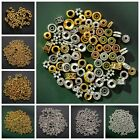 100Pcs Various Gold Silver Beads Jewelry Making Metal Charms Round Spacer Beads