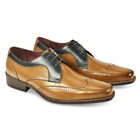 BRAND NEW AZOR MEN'S SARDINIA LEATHER LACE UP DERBY BROGUE SHOES - TAN/BLUE