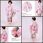 Retro/Japanese Traditional Yukata Cosplay Peacock Kimono Robe Geisha Dress Obi