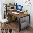 Wooden Corner Computer Desk Home Office PC Laptop Table H Shaped + 4 Shelves