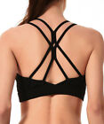 Women Sports Bra Cross Back Strappy Yoga Running Workout Bra with Removable Pads