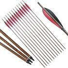 12xArchery Carbon Arrow Turkey Feather for Compound Recurve Bow Longbow Hunting