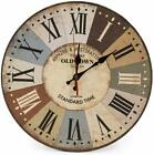 HOME 12 INC RETRO WOOD WALL CLOCK SILENT NON TICKING COLOCK QUARAZ COUNTRY STYLE
