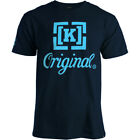 KR3W Krew K ORIGINAL 100% Cotton CREW Neck NAVY Light BLUE TShirt MEN sz MED LRG image