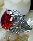 10ct Big Round Sim Red Ruby Sterling Silver Gothic Filigree Ring Made To Order