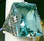 30ct Sim Aquamarine Sterling Silver Vintage/Deco Filigree Ring Made To Order