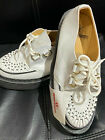 GEORGE COX D RING CREEPER SOLE WHT LEATHER TED TEDDY BOY SIZE 6