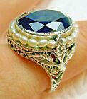 Sim Sapphire &Pearl Sterling Silver Leaf Victorian Filigree Ring {Made To Order}