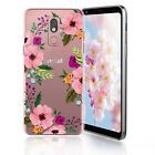 LG Stylo 5 /5 Plus/ 5v/ 5X Pink Floral Flower Clear Case Tempered Glass Include