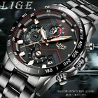 LIGE Fashion Mens Watches Stainless Steel Top Brand  Luxury Sport Quartz Watch