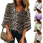 Women's V Neck Leopard Mesh Panel Blouse 3/4 Bell Sleeve Casual Loose Tops Shirt