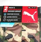 2-pack/pairs PUMA Men's Performance Stretch Boxer Briefs, Green/Tan Camo & Black