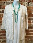 Isaac Mizrahi White Crochet Open Front 3/4 Sleeve Cardigan New Spring Sweater