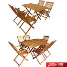 5/7pcs Outdoor Wooden Dining Set Foldable Table&chairs Patio Garden Furniture