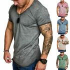 Fashion Tops Tee Short Sleeve Mens T-Shirt Slim Fit Casual Blouse Muscle Summer image