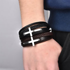 Jiayiqi Cross Style Multi Layer Genuine Leather Charm Bracelet Stainless Steel