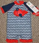 New Baby Girls 1 pc Wetsuit/Swimsuit Swim; Whale; Striped - Size 6-9 mo