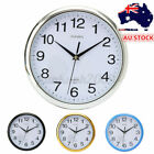 New Large Vintage Silent Analogue Round Wall Clock Home Bedroom Kitchen