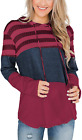 Mystry Zone Pullover Hoodie Women Long Sleeve Color Block Drawstring Sweatershir