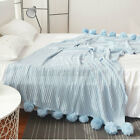 Cotton Reversible Pom Pom Knitted Throw Crochet Blanket Cotton Rug Bed Sofa Home