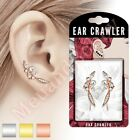 20G 1 Pair CZ Pearl Feather Ear Crawler Climber Earrings Body Piercing Jewellery
