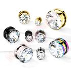 Clear CZ Screw Fit Ear Tunnel Stretcher Body Piercing CHOOSE SINGLE OR PAIR