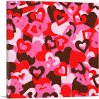 ARTCANVAS Red Pink White Camo Camouflage Heart Pattern Canvas Art Print