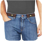 Ladies Men Invisible Buckleless Buckle Free Jeans Belt Elastic Waistband + Ring