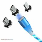 3 in 1 LED Glowing Flowing Magnetic Phone Charger for Type C IOS Micro USB Cable