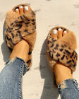 Womens Leopard Printed Fur Fluffy Flat Slippers Ladies Winter Warm Slip On Shoes