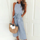 UK Womens Summer Striped Jumpsuit Ladies Holiday Wide Leg Casual Playsuit Romper