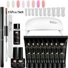 MEET ACROSS Poly Nail Extension Gel Kits W/6W USB LED Lamp French Nail Art Tips