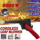 Cordless Leaf Blower w/ Battery Lawn Yard Suction Dust Sweeper Vacuum Cleaner