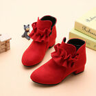 Child Kids Girls Low Block Heels Ruffle Zipper Party Princess Ankle Boots Shoes