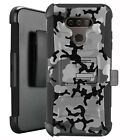 Holster Case for LG Harmony 4/ Premier Pro Plus Phone Cover - GRAY STYLISH CAMO