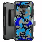 Holster Case for LG Harmony 4/ Premier Pro Plus Phone Cover - BLUE STYLISH CAMO